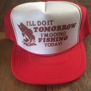 Other - Vintage Snap Back Rope Fishing Cap Hat Red